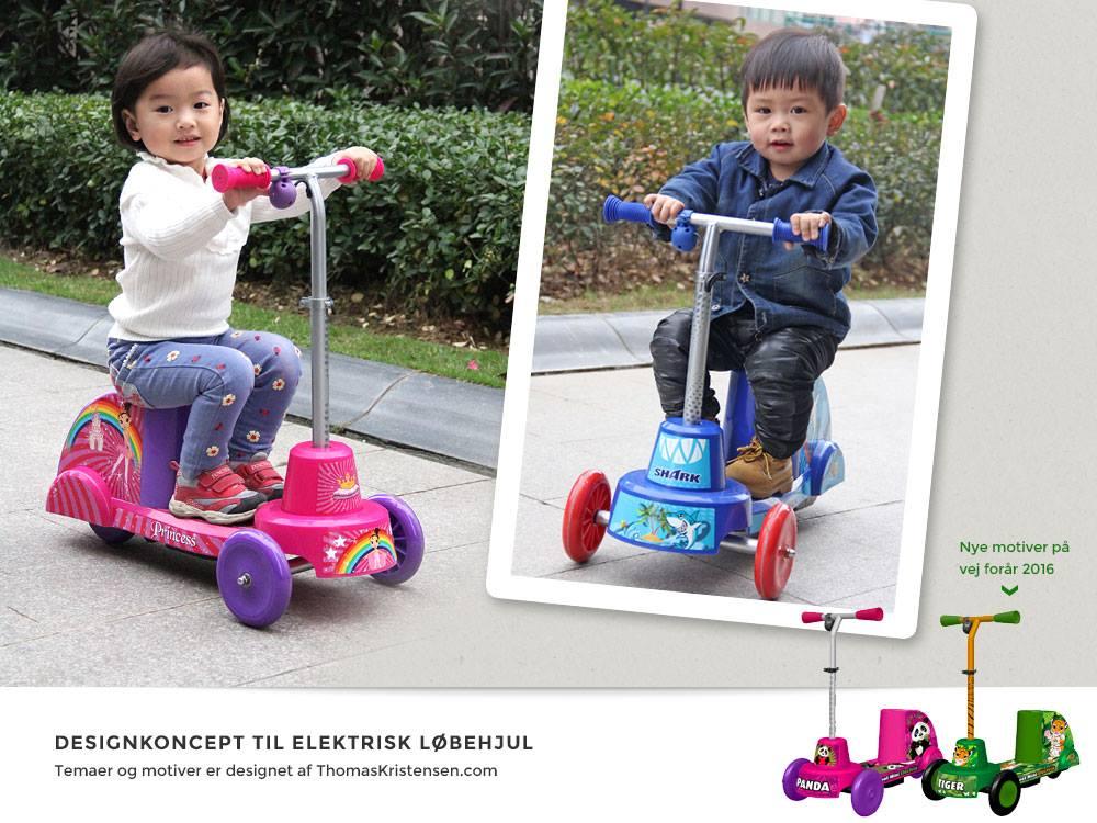 På det seneste har Thomaskristensen.com udarbejdet en lang række forskellige designkoncepter for en kinesisk løbehjuls-fabrikant, og enkelte af dem forhandles også i Danmark.